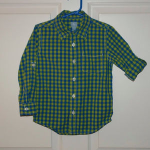 Baby Gap Outlet Blue Lime Green Gingham Shirt 4T